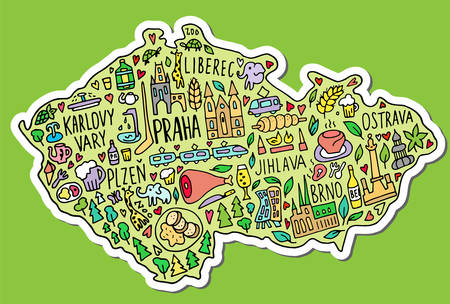 Colored Sticker of Hand drawn doodle Czech Republic map. Thick white stroke with shadow. Czech city names lettering and cartoon landmarks, travel, trip comic infographic poster, banner concept design. Praha, Karlovy Vary, zoo, train