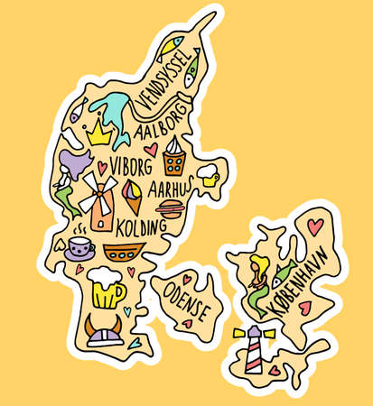 Colored sticker of Hand drawn doodle Denmark map. Danish city names lettering and cartoon landmarks, tourist attractions cliparts. travel, funny infographic poster. Fish, mill, mermaid, coffee