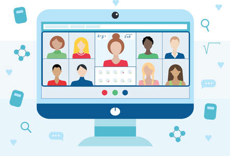 E-learning concept. Online education. video conference, woman teacher and children on laptop screen. Web courses or tutorials. Trendy flat vector illustration. Online meeting via group call.