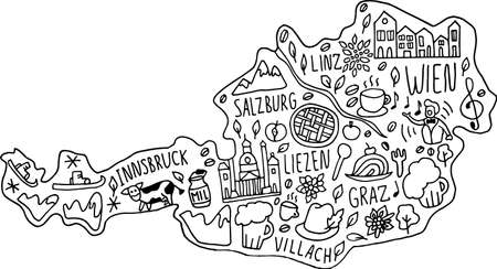 Funny hand drawn doodle map of Austria. names of main cities, main attractions and landmarks, and geographical names on the map. travel, cute childish infographic poster. Vector illustration.