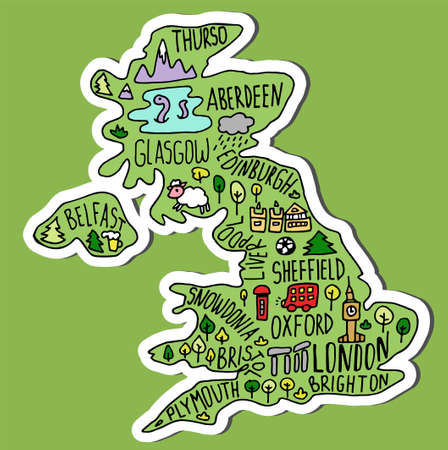 Colored sticker of Hand drawn doodle Great Britain map. England city names lettering and cartoon landmarks, tourist attractions cliparts. US travel, trip comic infographic poster, banner concept design.