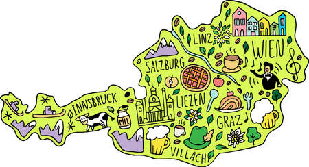 Colored Funny hand drawn doodle map of Austria. names of main cities, main attractions and landmarks, and geographical names on the map. travel, cute childish infographic poster. Vector illustration. Illustration
