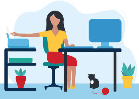 a young woman works at home. remote work.Office in the apartment. Computer monitor, keyboard, printer, paper. A cat is sitting under the table. Trend flat style. The concept of self-Isolation, quarantine. Vector illustration