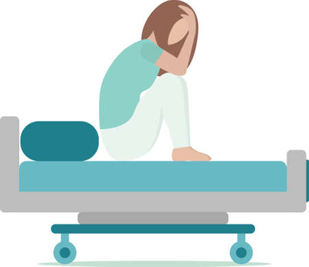 white woman is sitting on hospital bed and crying. surgery, illness, nausea. Tears, abortion, miscarriage. Vector illustration trend flat style