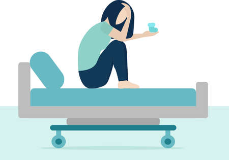 white woman is sitting on hospital bed and crying. Loss of a child, pregnancy termination. She is holding blue bootie in her hand. Tears, abortion, miscarriage. Vector illustration trend flat style 일러스트
