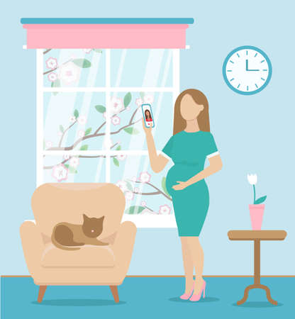pregnant woman talking to someone via video call. working from home in comfortable conditions. There is a chair and cat on it. A tree blooms outside the window. Vector flat