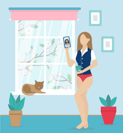 business woman talking to colleague in video conference using smartphone. working from home in comfortable conditions. Woman wears shirt, jacket and underwear. A Cup of coffee in her hand, a cat next to her. A tree blooms outside the window. Vector flat