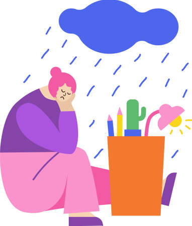Woman is sitting on the floor. She is sad because she lost her job. There is a box near. Thunderstorm above. isolated cartoon character.