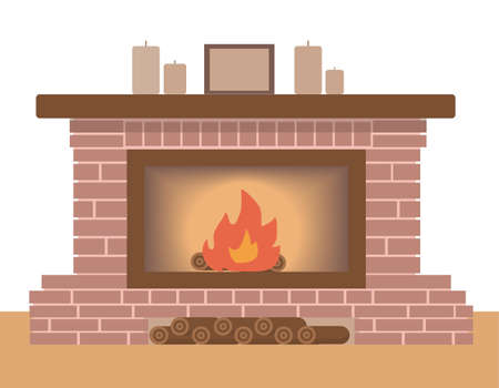 Winter interior bonfire. Classic fireplace made of brown bricks. Some candles and frame above it. firewood under and inside fireplace. comfort and relaxation. Vector illustration in flat style