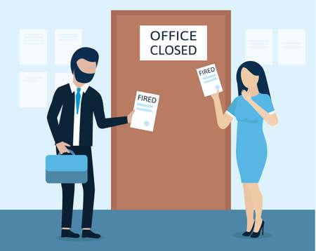 Man and woman are fired. dismissal, severance, termination in case of coronavirus or virus COVID-19. Vektorgrafik