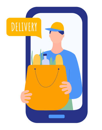 receiving meal at home using a smartphone app, the delivery man with cap is carrying a bag. technology and lifestyle concept.