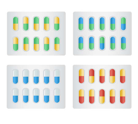 Capsule in Blister Pack. Different colours yellow, green, blue, red. pills for illness and pain treatment. Package of tablets. Medical drug, vitamin, antibiotic. Healthcare and pharmacy.
