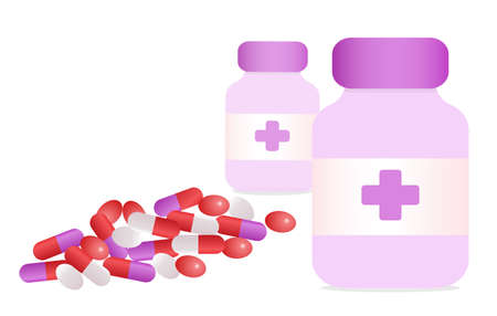 Various meds. Two medicine cans with cross and many white purple Pills, capsules, Drug medication supplements collection. Realistic flat style vector object illustration