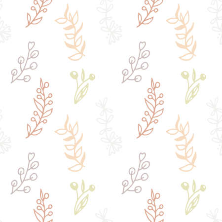 Seamless pattern with hand drawn branches and floral elements. Pastel colours pink, gold and brown. Rustic style. Isolated on white background.