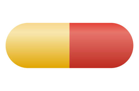 medications in the form of capsules or pills. Red-yellow tablet for the treatment of the disease. Three-dimensional image, vector illustration