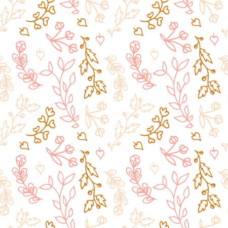 Seamless pattern with hand drawn branches and floral elements.