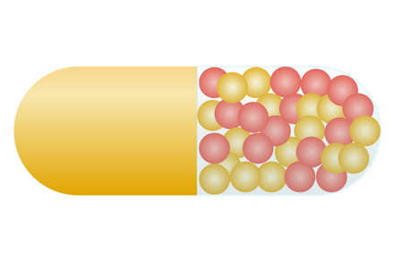 medications in the form of capsules or pills with small balls or granules. Red-yellow tablet for the treatment of the disease. Three-dimensional image, vector illustration
