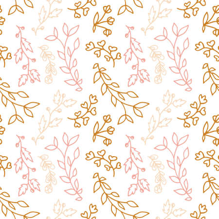 Seamless pattern with hand drawn branches and floral elements. Some simple lines. Pastel colours pink, gold and dark brown. Rustic style. Isolated on white background.