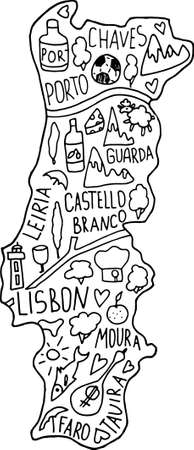 Hand drawn doodle Portugal map. Portugalian city names lettering and cartoon landmarks, tourist attractions cliparts. travel, trip comic infographic poster, banner concept design. Portu, Lisboa, chaves