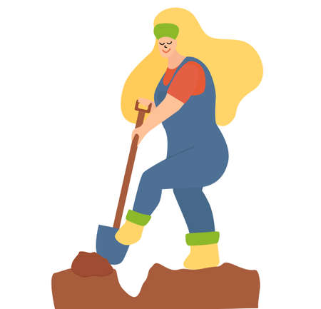 young woman in blue overalls is digging in the garden. blonde hair, blue jumpsuit, spring garden worker. cute cartoon characters.
