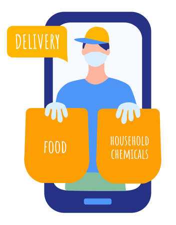 receiving meal at home using a smartphone app, the delivery man in mask, gloves and cap is carrying two bags with food and chemicals. technology and lifestyle concept. Vector illustration in flat style. Illustration