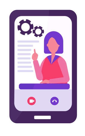 E-learning concept. physics teacher conducts the lesson remotely. The remote training. Short dark hair, red clothes. two gears. Flat vector illustration