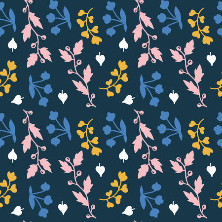Seamless pattern with hand drawn branches and floral elements.  Bright colours pink, blue, yellow, peach. Rustic style. Isolated on dark blue background. Funny fabric design
