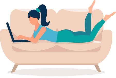 girl with laptop lies on the beige sofa. Bright colours, green trousers, blue T-shirt. Freelance or studying concept. Remote work. Cute illustration in flat style. Isolated on white. Illustration