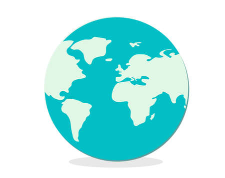the globe. approximate abstract World map in green colors. Childish drawing. Vector illustration. All continents.