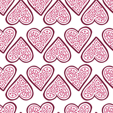 Seamless pattern with hand drawn hearts. All elements are decorated with cute pattern inside. Pink and red colours. Vector illustration on white background.