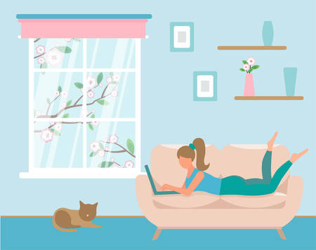 girl with laptop lies on purple sofa. Bright colours, green trousers, yellow T-shirt. Freelance or studying concept. Remote work. Cute illustration in flat style. Isolated on white. working from home in comfortable conditions. cat next to her. A tree blooms outside the window.