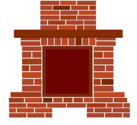 Winter interior bonfire. Classic fireplace made of bright brown bricks. Home fireplace for comfort and relaxation. Vector illustration in flat style Illustration