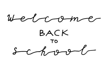 Hand drawn lettering Welcome back to school isolated on white background. calligraphy hand written frase about school time and beginning of learning Illustration