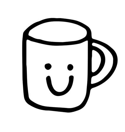 a hand drawn cup with a smile. Funny picture, kawaii style. Doodle illustration black stroke isolated on white background