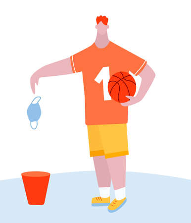 basketball player throws a mask in the trash. The end of the quarantine, the weakening of self-isolation. Basketball, ball. A tall fair-haired man. Cartoon vector illustration