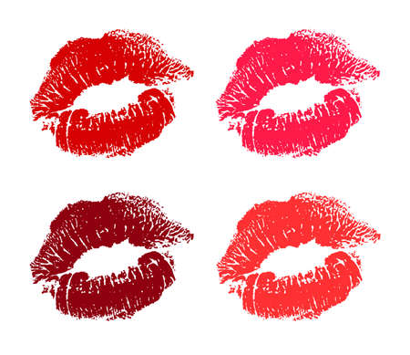 Red, rose, pink lips pomade imprint. Kiss trace icon and symbols. romantic stamp, imprint, symbol. Female mouth. Traces of woman kisses isolated Vector illustration on white background. 벡터 (일러스트)
