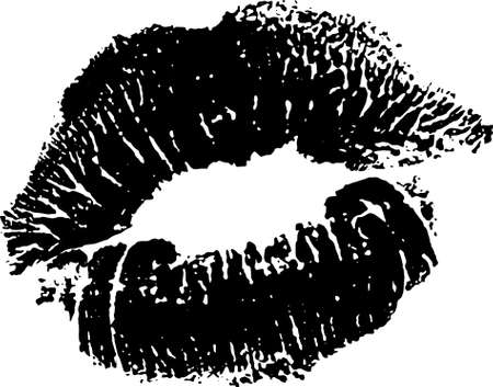 Black and white lips pomade imprint.  Kiss trace  icon and symbols. romantic stamp, imprint, symbol. Female mouth. Traces of sexy woman kisses isolated Vector illustration on white background.