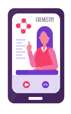 E-learning concept. chemistry teacher conducts the lesson remotely. The remote training. Long dark hair, red clothes. chemical element. Flat vector illustration Illustration
