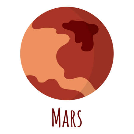 Mars planet for  outer space, symbol. Red planet. Transparent shadow and lettering. Vector illustration isolated on background. Flat style design.
