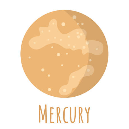 Mercury planet for  outer space, symbol. Transparent shadow and lettering. Vector illustration isolated on background. Flat style design.