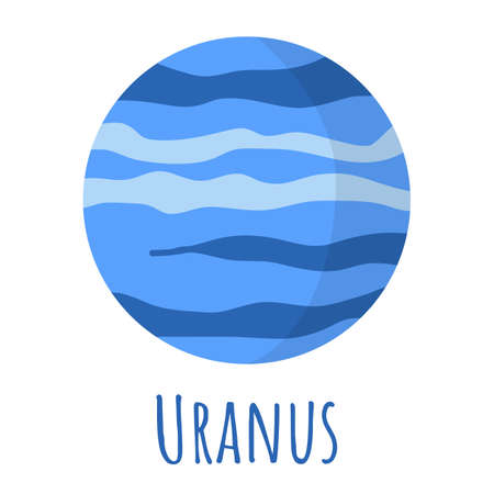 Uranus planet for  outer space, symbol. Transparent shadow and lettering. Vector illustration isolated on background. Flat style design. Illustration