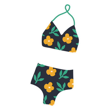 Modern hand drawn colorful women s swimwear. Beautiful pattern thongs and lace bras. pattern with hand drawn yellow flowers and green leaves. Sensuality and femininity concept. Illustration