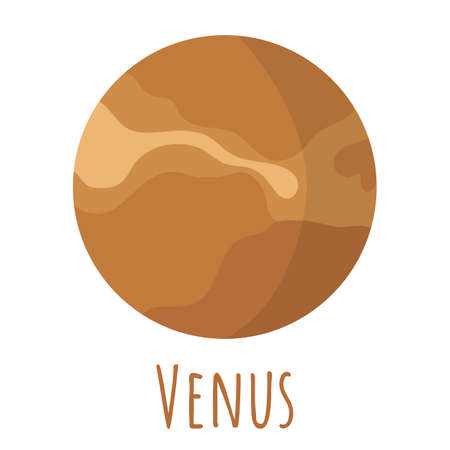 Venus planet for   outer space, symbol. Transparent shadow and lettering. Vector illustration isolated on background. Flat style design.