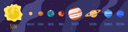 Cartoon solar system planets in outer space. Astronomical observatory planet, Sun, venus mercury neptune uranus and earth on dark blue background. Astronomy galaxy space vector isolated icons set Illustration
