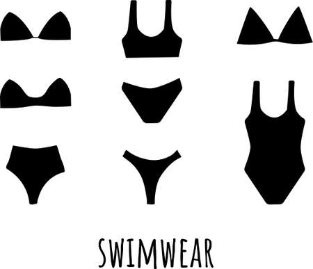 Collection of silhouette women s lingerie and swimwear isolated on white background. Set of black underwear and swimsuits or bikini tops and bottoms. Flat cartoon colorful vector illustration.