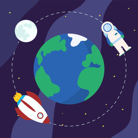 Vector planet earth in space and rocket, moon and astronaut are flying in orbit. Dark blue Cosmic background with bright yellow stars. Cartoon vector illustration