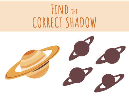 Vector illustration of shadow matching game with cartoon Saturn planet for children. children s education. learning. Exercises isolated on white