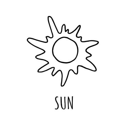 Cute cartoon hand drawn sun drawing. Sweet vector black and white sun drawing. Isolated monochrome star drawing on white background. Illustration