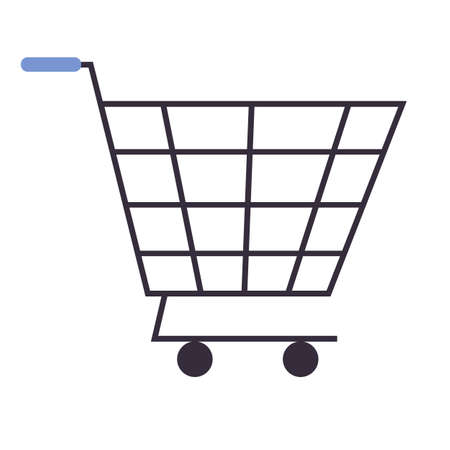 Shopping cart icon. Blue handle. Black icon isolated on white background. Shopping cart silhouette. Simple icon. Web site page and mobile app design flat vector element.