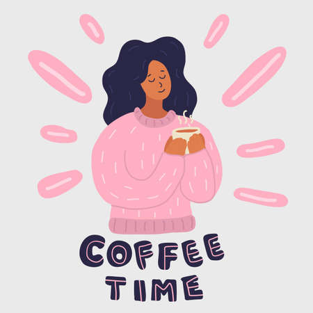 Young woman holds coffee cup in her arm. Pink sweater. Her eyes are closed. She loves coffee. Enjoy, happiness. Hand drawn cartoon style vector illustration isolated on grey background.